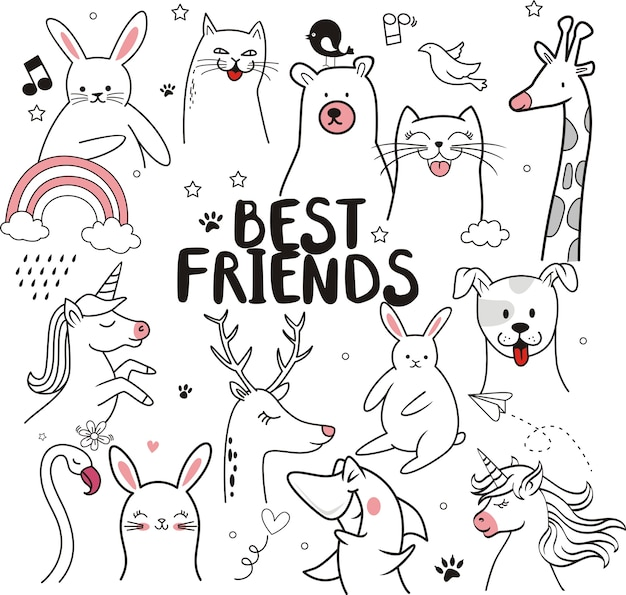 Best friends, cute animal illustration for kids