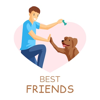 Best friends flat illustration. guy and puppy playing together in heart shaped frame. positive emotions, friendship, young boy with pet in border cartoon character isolated on white