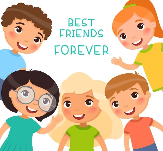 永遠の親友。フレーム内の5人の子供が笑顔で手を振っています。友情の日または子供の日。面白い漫画のキャラクター。図。白い背景で隔離