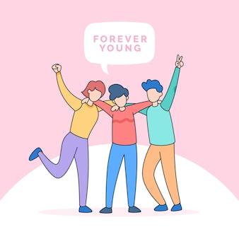 親友は永遠に幸せな友情の青年の日のイラストのために一緒に抱き締める十代の若者たちをグループ化します
