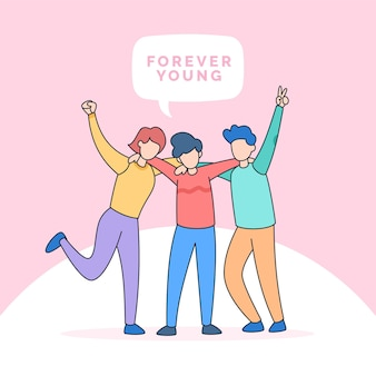 Best friends forever group teens people hugging together for happy friendship youth day illustration