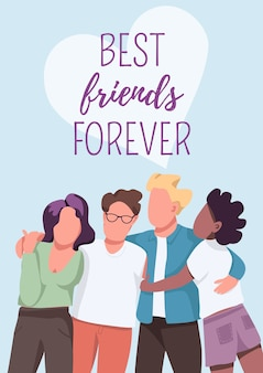 Best friends forever poster   template. friendship and unity. group dynamic. brochure, booklet one page   with cartoon characters. multicultural community flyer, leaflet