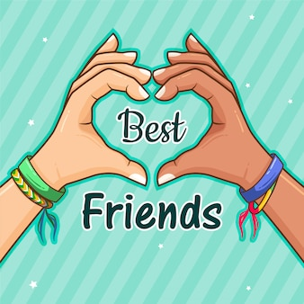 Best friends forever with heart with hands