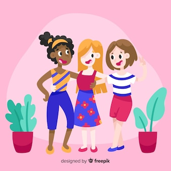 Best friends having fun together illustrated