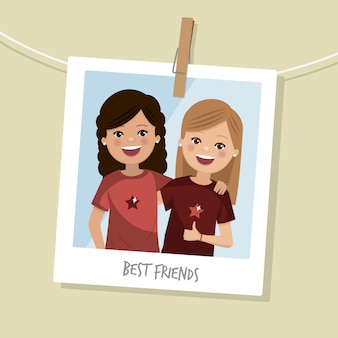Best friends photo. two happy girls smiling. vector illustration