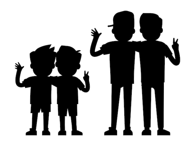 Best friends silhouettes isolated on white background - baby boys and teenager boys black silhouettes