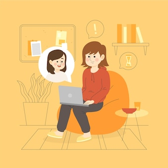 Лучшие друзья разговаривают друг с другом через ноутбуки