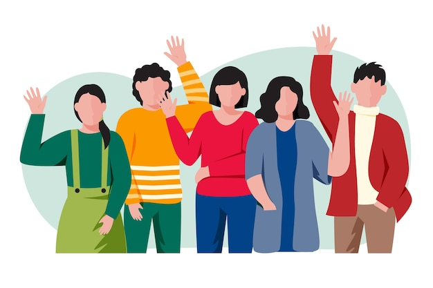 Best friends waving hand Premium Vector