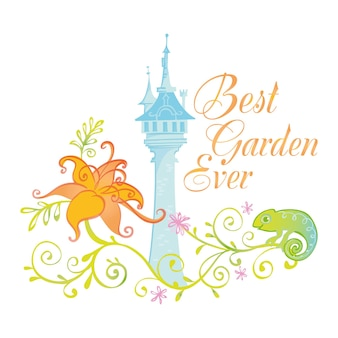 Best garden ever badge illustration with palace castle and fairytale princess design