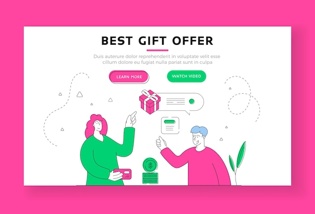 Best gift offer landing page banner template. chartoon male character shop assistant offering present to female customer paying for purchases with credit card. flat style illustration