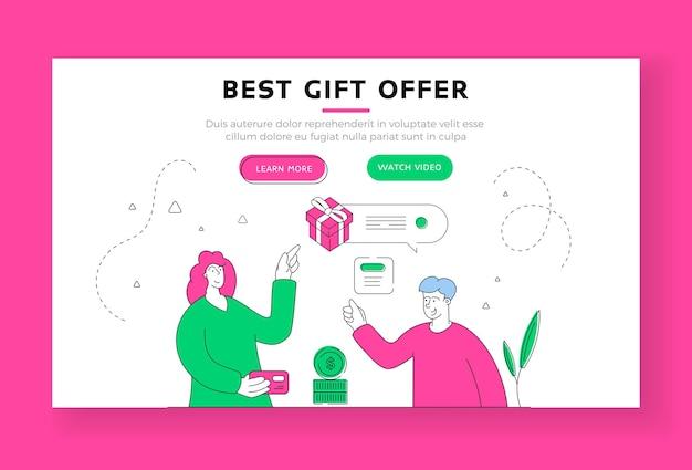 最高のギフトオファーのランディングページのバナーテンプレート。クレジットカードで購入した女性のお客様にプレゼントを提供するchartoonの男性キャラクターショップアシスタント。フラットスタイルのイラスト