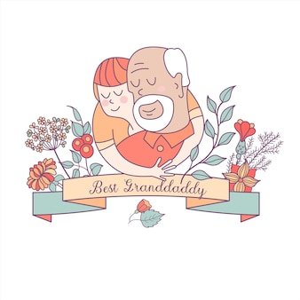 The best granddaddy. grandfather and grandson. vector postcard.