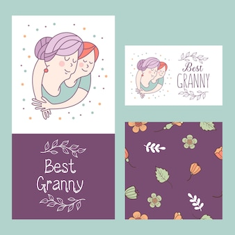 The best granny. grandmother and granddaughter. vector postcard.