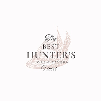 Best hunter tavern abstract vector sign, symbol or logo template