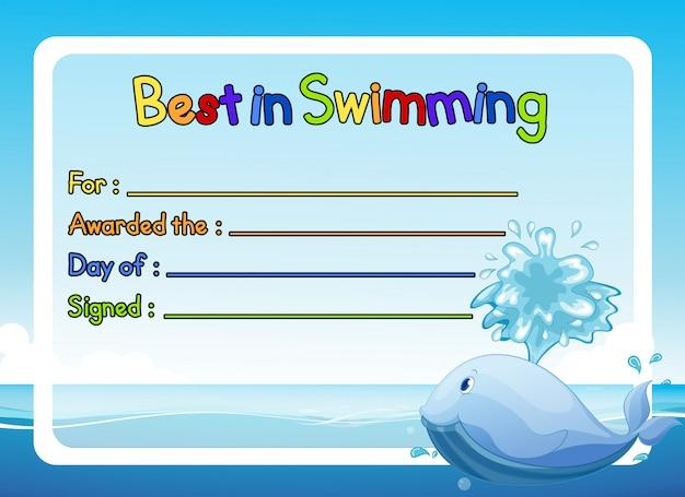 바다에서 고래 수영 수상 템플릿 최고