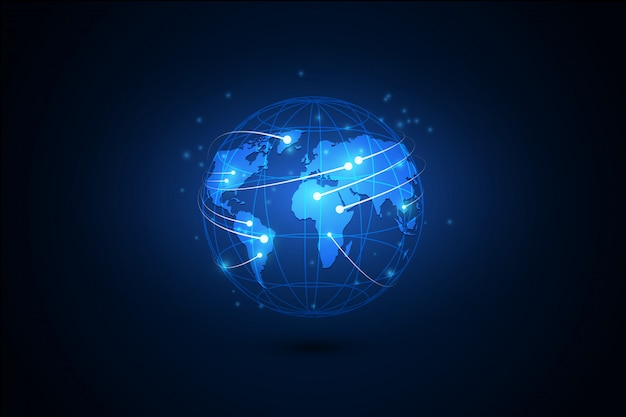 Best internet concept of global business. globe, glowing lines on technological background