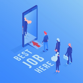 Best job here isometric illustration
