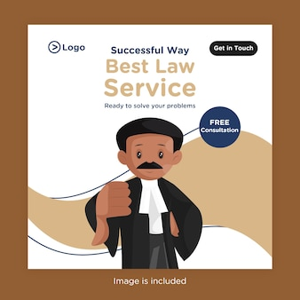 아래로 엄지 손가락을 보여주는 변호사와 소셜 미디어를위한 최고의 법률 서비스 배너 디자인