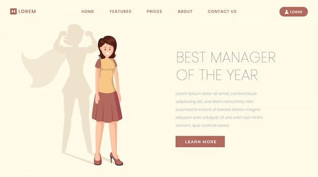 Best manager landing page template. super worker, employee of year website, webpage