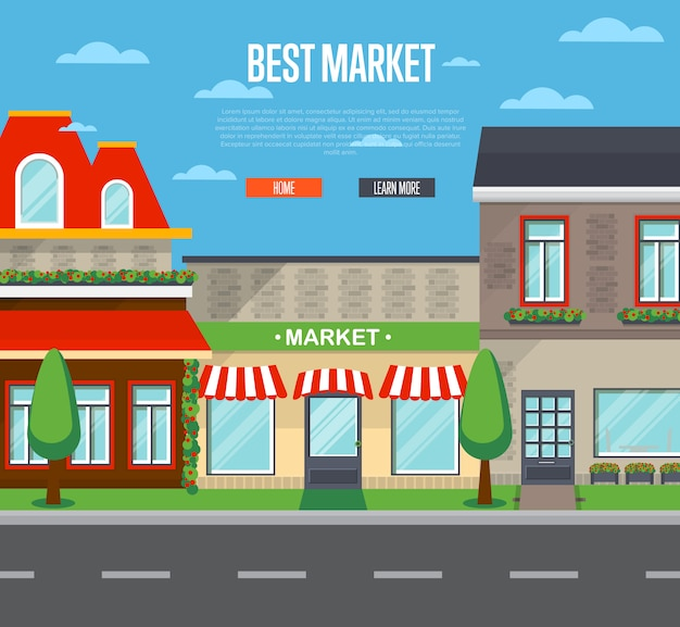 Best market banner in flat design