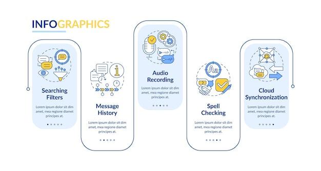 Лучший векторный инфографический шаблон функции обмена сообщениями. элементы дизайна схемы презентации messenger. визуализация данных за 5 шагов. информационная диаграмма временной шкалы процесса. макет рабочего процесса с иконками линий
