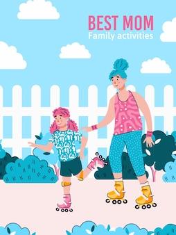 Лучшая мама и ее дочь на коньках на открытом воздухе вместе взявшись за руки плакат. проведение семейных мероприятий на улице в парке баннер, плоская карикатура