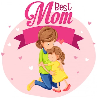A best mom beautiful illustration