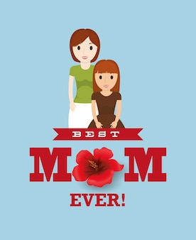 Best mom with child lovely card