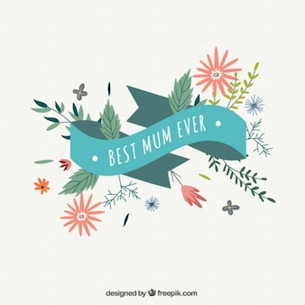 Best mum ever ribbon background