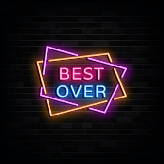 Best over neon signs design template neon style