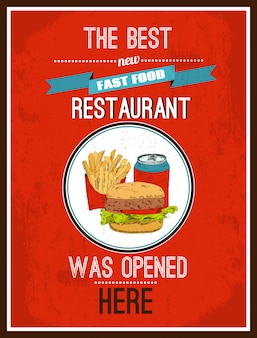The best new fast food restaurant was opened here, poster ready to print
