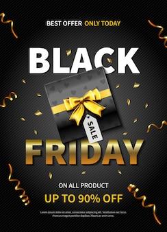 어두운 색상의 선물 상자가있는 검은 금요일 배너 또는 포스터를 제공하십시오.