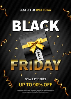 Best offer black friday banner or poster with gift box on dark color