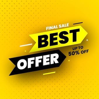 Best offer final sale banner with shadow on yellow background up to 50 off illustration