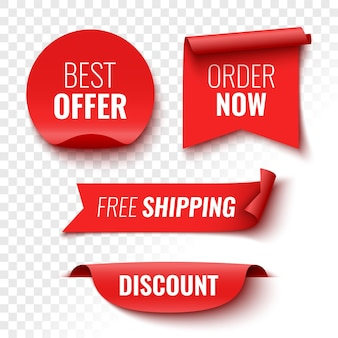 Best offer order now free shipping and discount sale banners red ribbons tags and stickers vector illustration