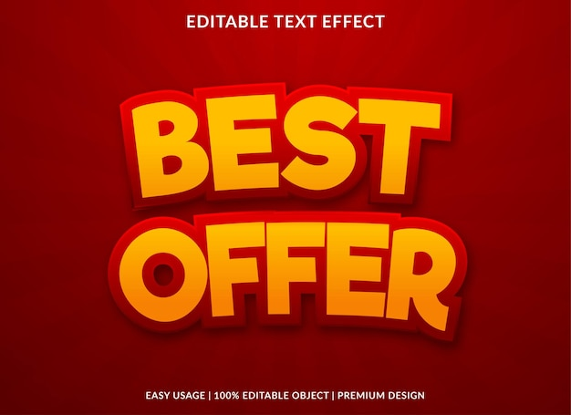 Best offer text effect with bold style