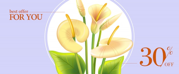 Best offer for you, thirty percent off banner with white calla lilies