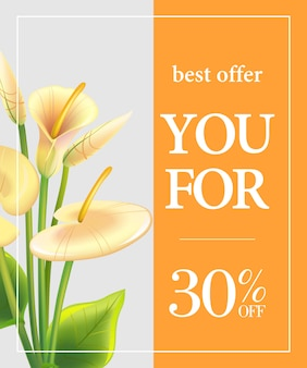 Best offer for you thirty percent off poster with white calla lilies on orange background