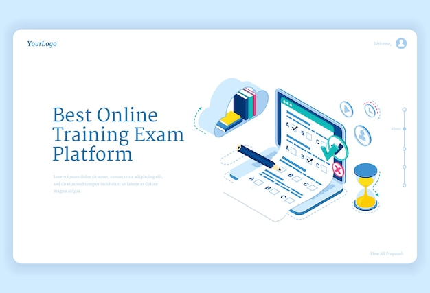 Best online training exam platform banner. concept of internet learning, digital access to examination