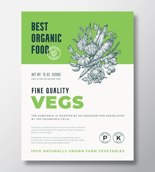 최고의 유기농 식품 추상적 인 벡터 포장 디자인 또는 레이블 템플릿. 농장 재배 식사 배너입니다. 현대 타이포그래피와 손으로 그린 야채와 허브는 부드러운 그림자가 있는 배경 레이아웃을 스케치합니다.
