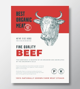 Best organic meat abstract vector packaging design or label template. farm grown beef steaks banner. modern typography and hand drawn cow head silhouette background layout with soft shadow.