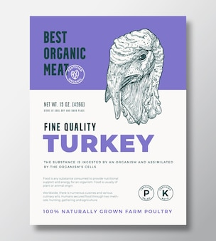 Best organic meat abstract vector packaging design or label template. farm grown poultry banner. modern typography and hand drawn turkey head silhouette background layout with soft shadow.