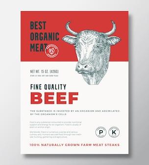최고의 유기농 고기 추상적 인 벡터 포장 디자인 또는 레이블 템플릿입니다. 농장에서 자란 쇠고기 스테이크 배너입니다. 부드러운 그림자와 함께 현대 인쇄 술과 손으로 그린 암소 머리 실루엣 배경 레이아웃.
