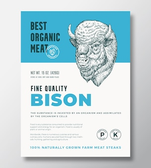 最高の有機肉の抽象的なベクトルパッケージデザインまたはラベルテンプレート農場で育てられたバッファローステーキバンネ...