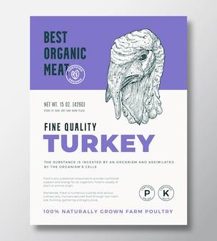 最高の有機肉抽象的なベクトルパッケージデザインまたはラベルテンプレート。農場で育てられた家禽のバナー。現代のタイポグラフィとソフトシャドウと手描きの七面鳥の頭のシルエットの背景レイアウト。