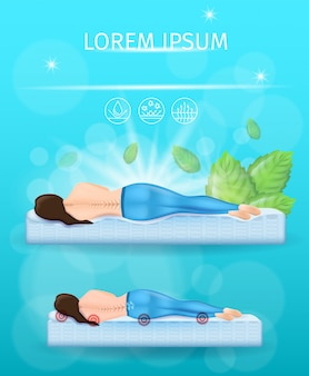 Best orthopedic mattress realistic vector banner