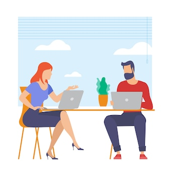 The best place for remote work. young man and woman is working outsourced. lat design illustration, ready to animation concept for web site, presentation, mobile app.