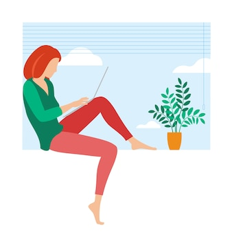The best place for remote work. young woman is working outsourced. lat design illustration, ready to animation concept for web site, presentation, mobile app.