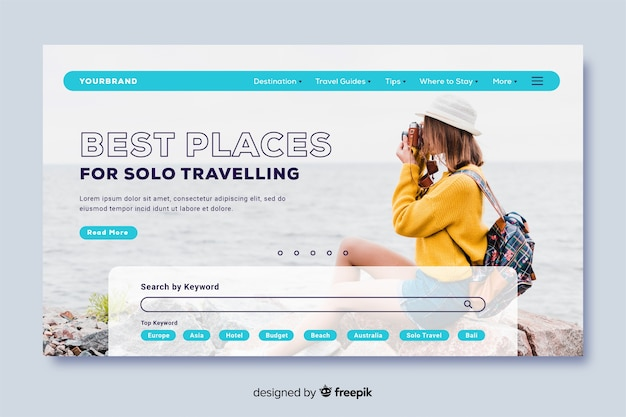 Best places travel landing page with photo