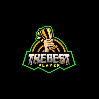The best player sports logo with hand holding the trophy and any coin around it
